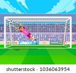 goalkeeper jumping for ball....   Shutterstock .eps vector #1036063954