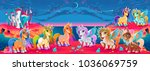 groups of unicorns and pegasus... | Shutterstock .eps vector #1036069759