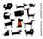 funny dogs collection  sketch...   Shutterstock .eps vector #1036071619