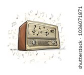 retro radio  sketch for your... | Shutterstock .eps vector #1036071871