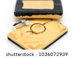 Small photo of Diamond ring on rubber mold. White gold diamond ring process with lost wax casting mold.