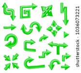 green 3d arrows. set of... | Shutterstock .eps vector #1036073221