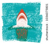 shark jaws.vector blue sea... | Shutterstock .eps vector #1036075801