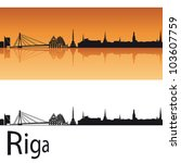 riga skyline in orange...