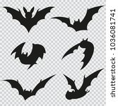 bat black silhouette of... | Shutterstock .eps vector #1036081741