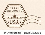 welcome to usa brown stamp.... | Shutterstock . vector #1036082311