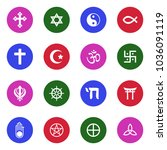 religion symbols icons. white... | Shutterstock .eps vector #1036091119