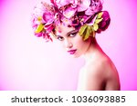 sensual spring lady in a wreath ... | Shutterstock . vector #1036093885