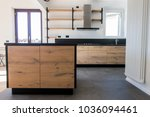 new kitchen in oak and black... | Shutterstock . vector #1036094461