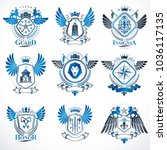 collection of vector heraldic... | Shutterstock .eps vector #1036117135