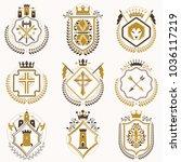 vector classy heraldic coat of... | Shutterstock .eps vector #1036117219