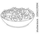 greek salad or horiatiki salad. ... | Shutterstock .eps vector #1036119394