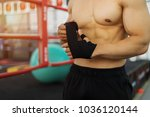 strong fitness man posing... | Shutterstock . vector #1036120144
