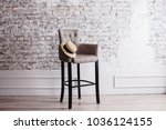 wooden high black chair on the... | Shutterstock . vector #1036124155