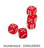 Small photo of group of red dice dice with dots isolated on white background, casino, gambling, board game, table game