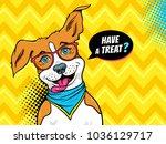 wow pop art dog. funny happy... | Shutterstock .eps vector #1036129717