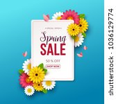 spring sale background with... | Shutterstock .eps vector #1036129774