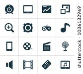 media icons set with mute ... | Shutterstock .eps vector #1036132969