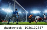 soccer game moment  on... | Shutterstock . vector #1036132987