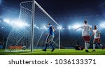 soccer game moment  on... | Shutterstock . vector #1036133371