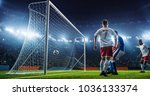soccer game moment  on... | Shutterstock . vector #1036133374