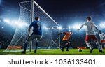 soccer game moment  on... | Shutterstock . vector #1036133401