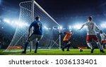 soccer game moment  on... | Shutterstock . vector #1036133401