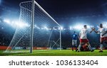 soccer game moment  on... | Shutterstock . vector #1036133404