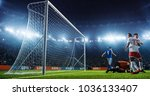 soccer game moment  on... | Shutterstock . vector #1036133407