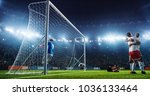 soccer game moment  on... | Shutterstock . vector #1036133464