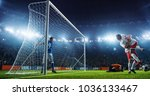 soccer game moment  on... | Shutterstock . vector #1036133467
