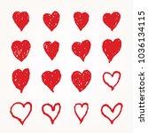 collection of sixteen hand... | Shutterstock .eps vector #1036134115