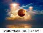 glowing red ufos fly above sea  ... | Shutterstock . vector #1036134424