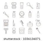 cosmetics line art  icons set.... | Shutterstock .eps vector #1036136071