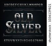 vintage silver alphabet font.... | Shutterstock .eps vector #1036139821