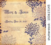 wedding card or invitation with ... | Shutterstock .eps vector #103615145