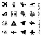 solid vector icon set   plane... | Shutterstock .eps vector #1036156279