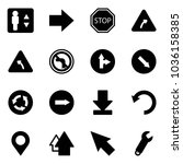 solid vector icon set  ... | Shutterstock .eps vector #1036158385