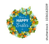 happy easter greeting card or... | Shutterstock .eps vector #1036162039