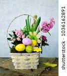 colorful eggs and spring flowers   Shutterstock . vector #1036162891