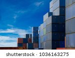 container cargo at shipping...   Shutterstock . vector #1036163275