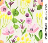 seamless watercolor floral... | Shutterstock . vector #1036171921