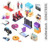 cinema set of isometric icons... | Shutterstock .eps vector #1036173331