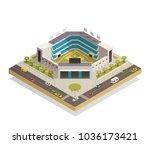 classic baseball ballpark play... | Shutterstock .eps vector #1036173421