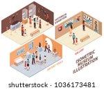 museum set of isometric... | Shutterstock .eps vector #1036173481