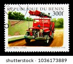 """Small photo of MOSCOW, RUSSIA - NOVEMBER 26, 2017: A stamp printed in Benin shows All-purpose vehicle Jeep """"Willy"""" (1948), Fire brigade serie, circa 1998"""