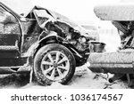 crashed cars in accident on... | Shutterstock . vector #1036174567