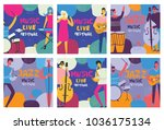 colorful music festival posters ... | Shutterstock .eps vector #1036175134