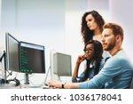 software engineers working on... | Shutterstock . vector #1036178041