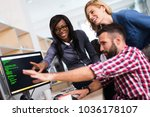 software engineers working on... | Shutterstock . vector #1036178107